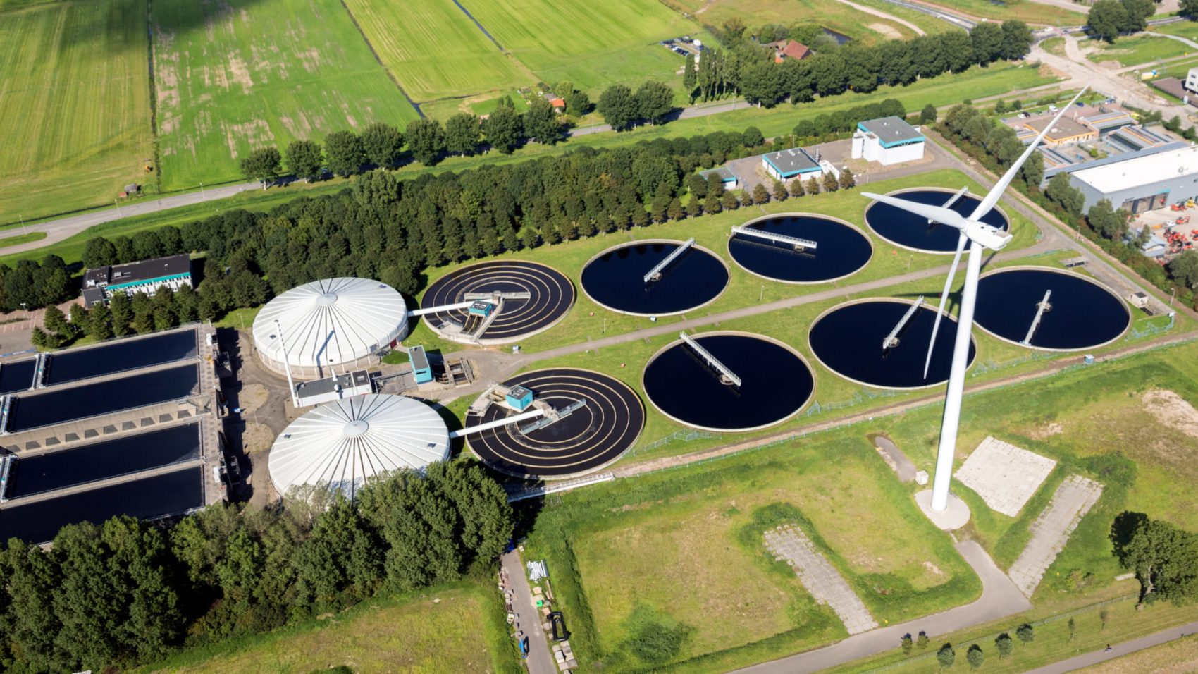 ROTTERDAM, THE NETERLANDS - Aerial view of a water treatment plant in the Port of Rotterdam.